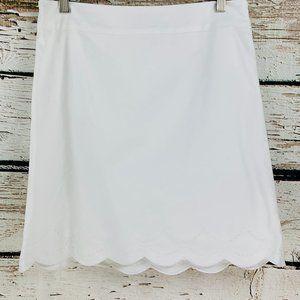 Talbots Women's Skirt White Scallop Hem  6